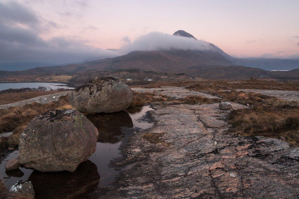 Beinn Damh, Windiger Abend, Torridon, Schottland