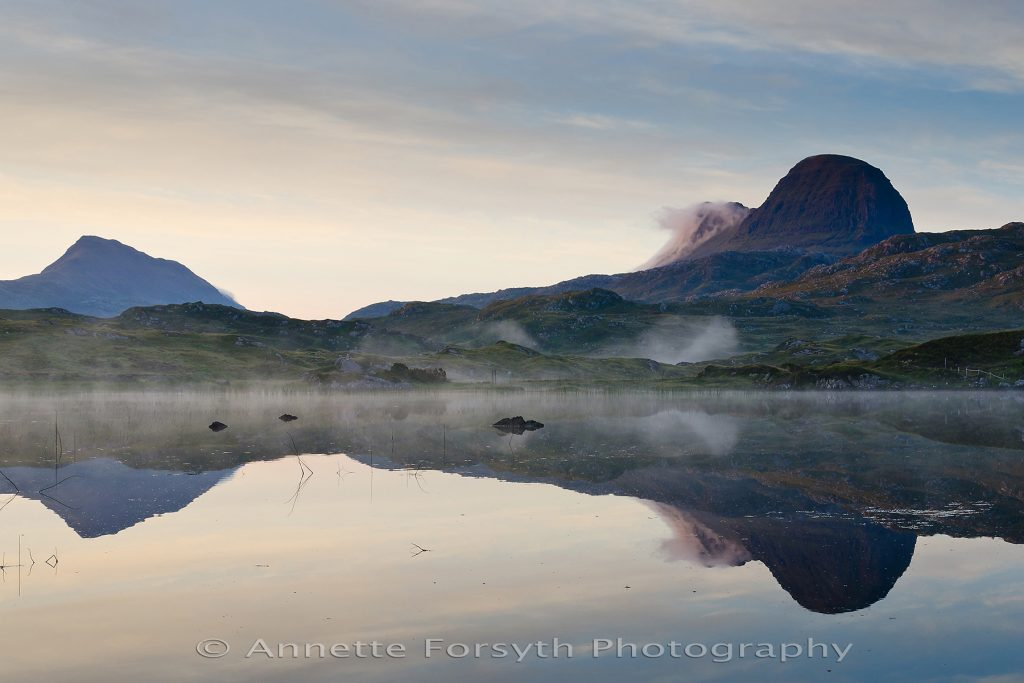 Dawn reflection of Suilven and Canisp, Scotland