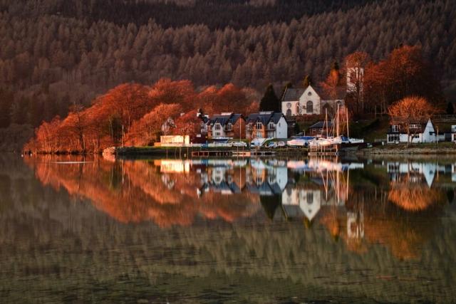 Kenmore Abendspiegelung, Loch Tay, Schottland