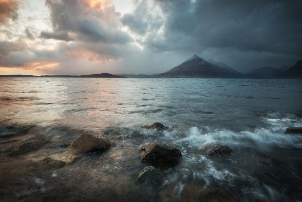 Letztes Licht, Elgol, Insel Skye, Schottland