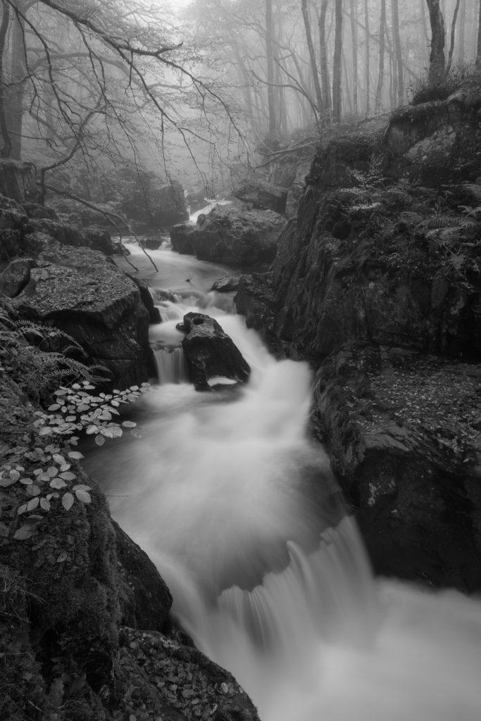 Abendnebel am Hexenkessel, Comrie, Schottland