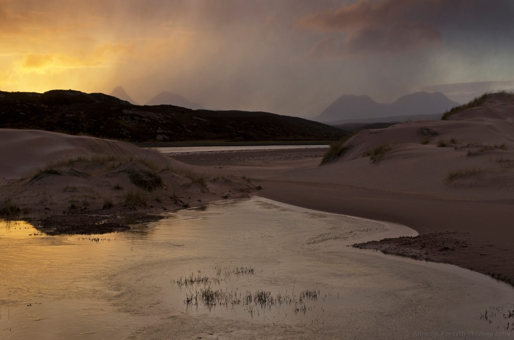 Snowshower at Sunrise, Achnahaird Beach