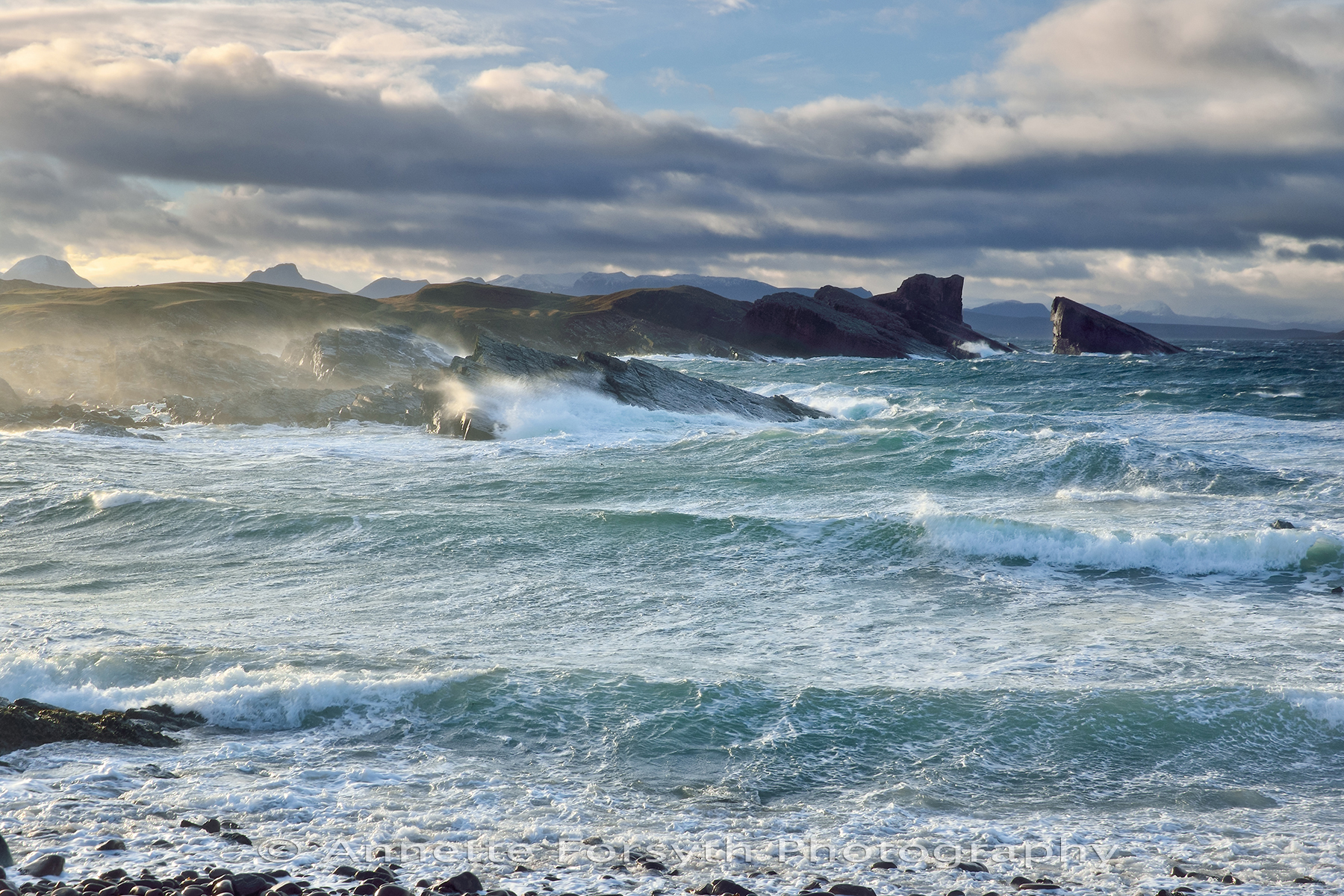 Stormy Seas at Sunrise, Clach Toll, Scotland