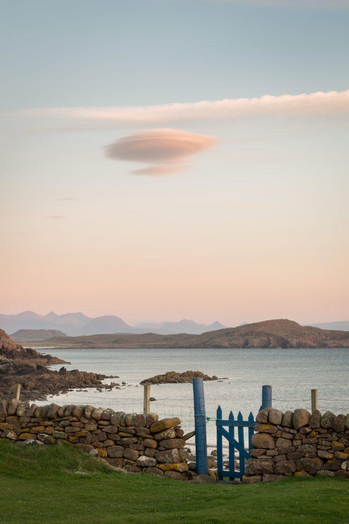 Sonnenuntergang Summer Isles mit unserem Gartentor