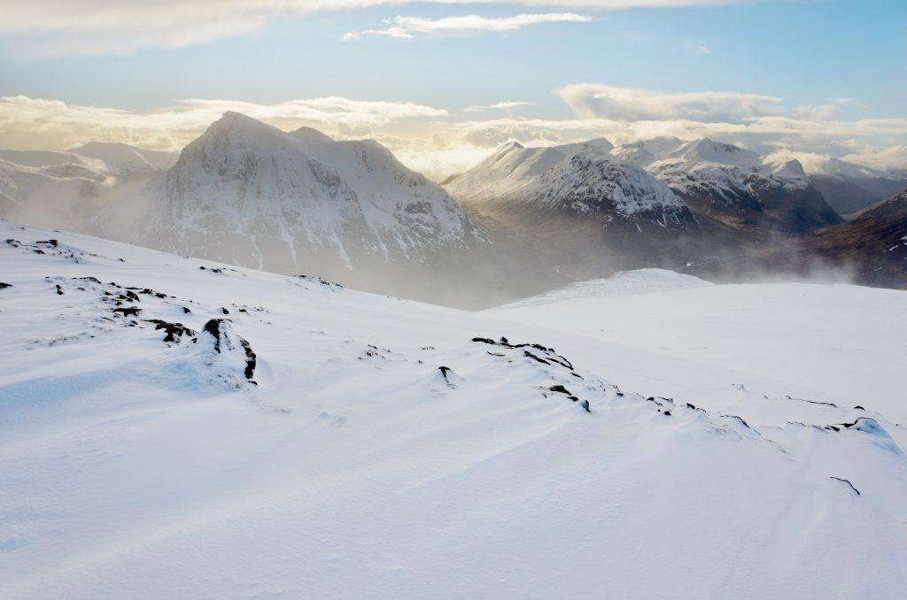 Buachaille Etive Mor Schneetreiben